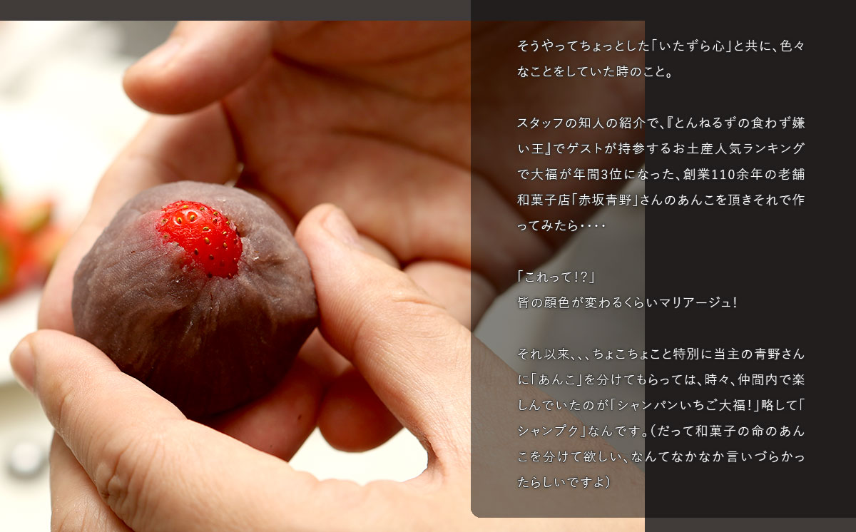『とんねるずの食わず嫌い王』でゲストが持参するお土産人気ランキングで大福が年間3位になった、創業110余年の老舗和菓子店「赤坂青野」さんのあんこ